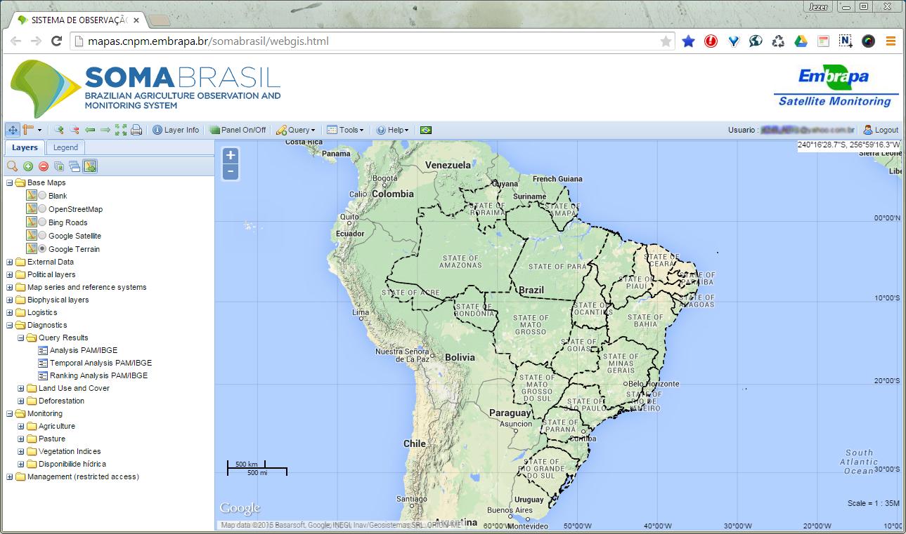 Software SOMABRASIL reúne informações de diferentes fontes e as apresenta em mapa