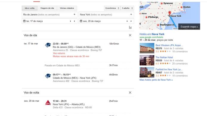 Lista de opções com passagens aéreas disponíveis (Foto: Reprodução/Barbara Mannara)