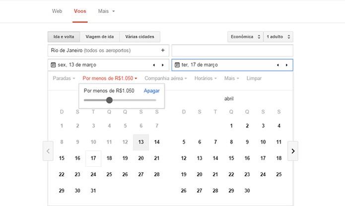 Filtros de buscas no calendário do Google Voos (Foto: Reprodução/Barbara Mannara)