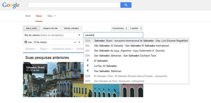 Google Voos permite pesquisar passagens aéreas nacionais e internacionais (Foto: Reprodução/Barbara Mannara)