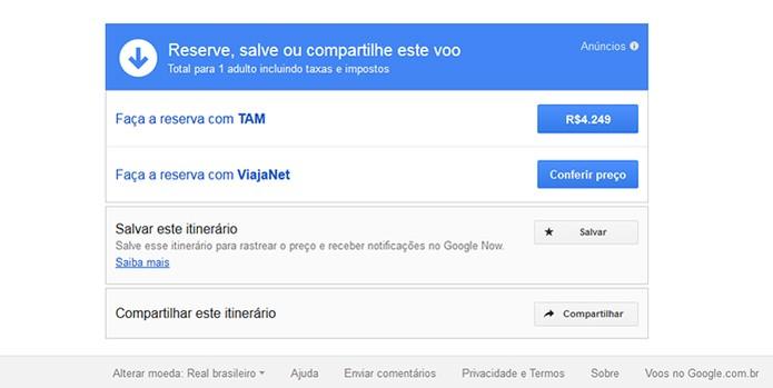 Finalização da busca no Google Voos (Foto: Reprodução/Barbara Mannara)